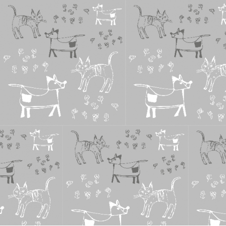 Fabric 9697 | dog and cat - grey