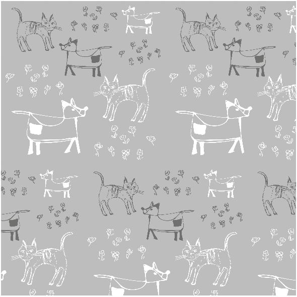Tkanina 9697 | dog and cat - grey