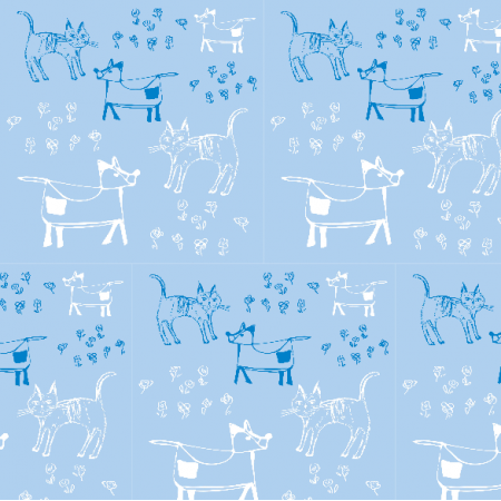 Fabric 9698 | dog and cat - Blue