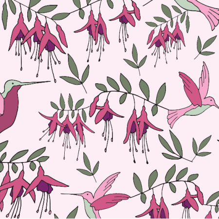 Fabric 9701 | fuchsia humming bird