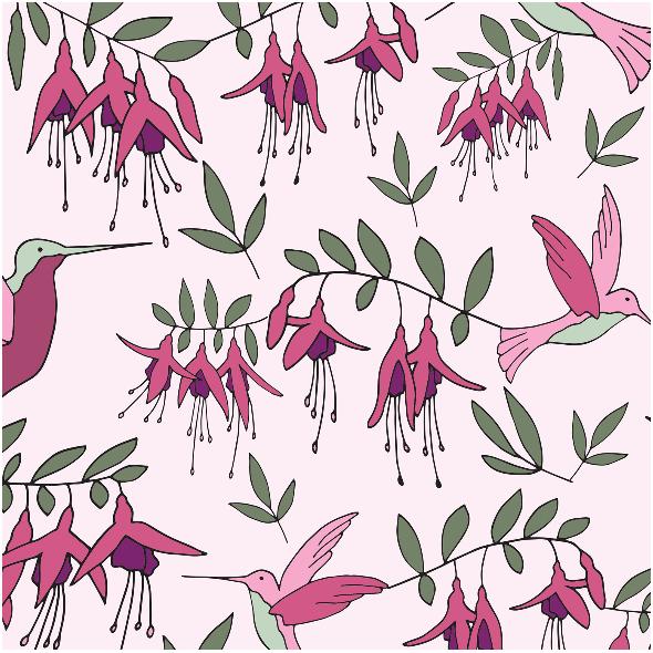 Tkanina 9701 | fuchsia humming bird