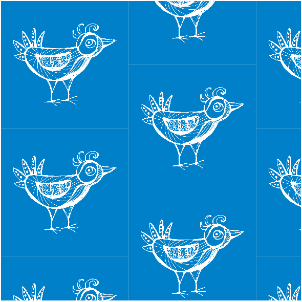 Tkanina 9798 | BIRD - blue