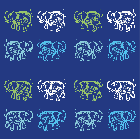 Fabric 9857 | HAPPY ELEPHANTS - 2