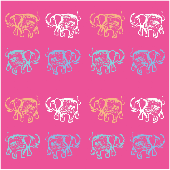 Fabric 9858 | HAPPY ELEPHANTS - 4