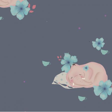 Fabric 9863   sleeping elefants