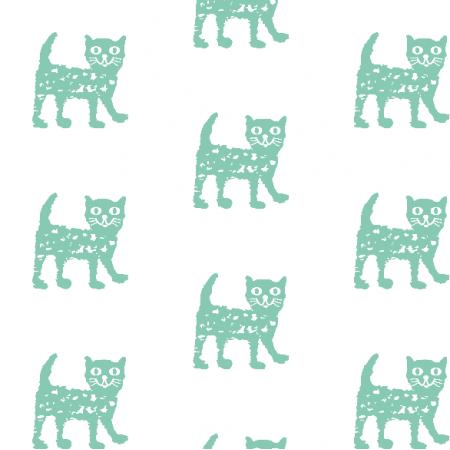 Tkanina 9930 | Happy cat - mint