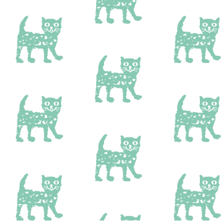 Fabric 9930 | Happy cat - mint