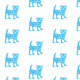Tkanina 9932 | Happy cat - blue