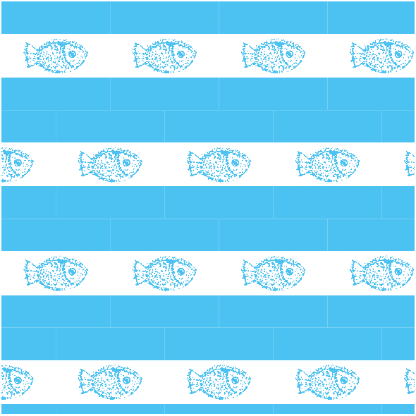Tkanina 9938 | Fish- blue and white