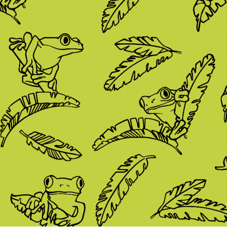 Fabric 10045 | Exotic frogs - lemon