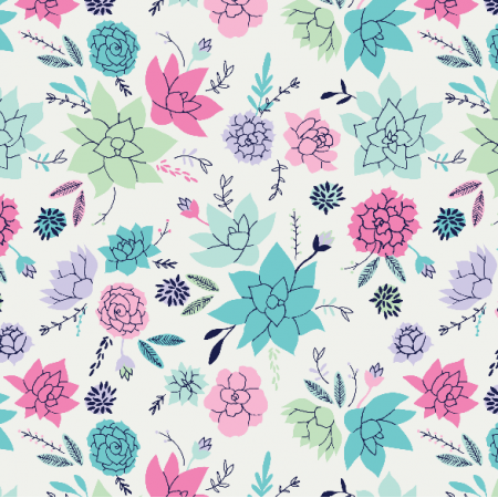 Fabric 10054 | Succulents print in pink