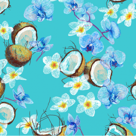 Fabric 10097 | Coconuts & flowers Blue