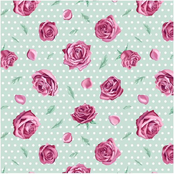 Tkanina 10163 | Roses on green