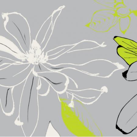 Tkanina 10188 | magnolie szary/limonka