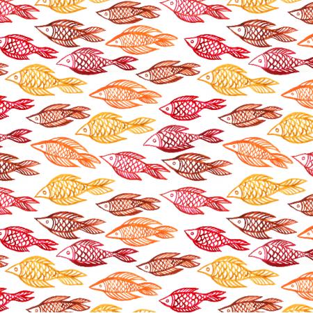 Fabric 10261 | czerwona i żółta ryba