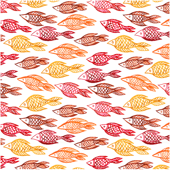 Tkanina 10261 | czerwona i żółta ryba