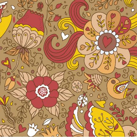 Fabric 10338 | kwiaty i ptaki - 2
