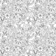 Tkanina 10341 | kwiaty czarno-białe