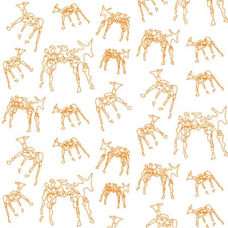 Fabric 10464 | ORANGE ANIMALS