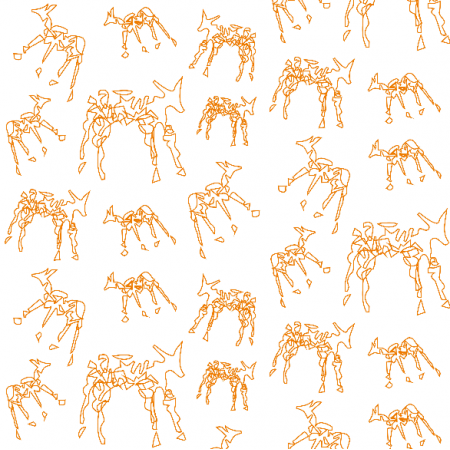 Fabric 10464 | ORANGE ANIMALS