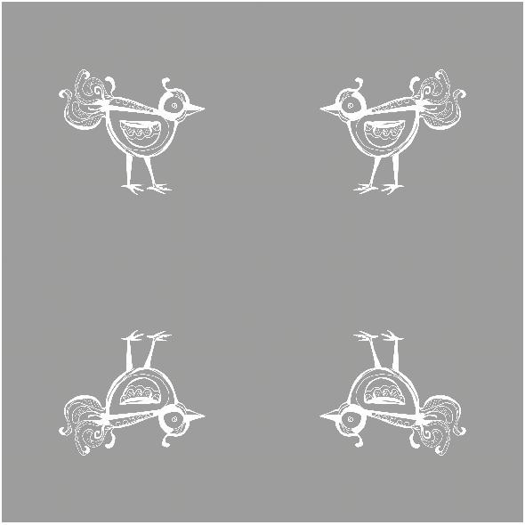 Tkanina 10476 | little bird - white AND grAy