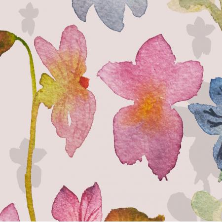 Tkanina 10509 | fiołki róż akwarelove