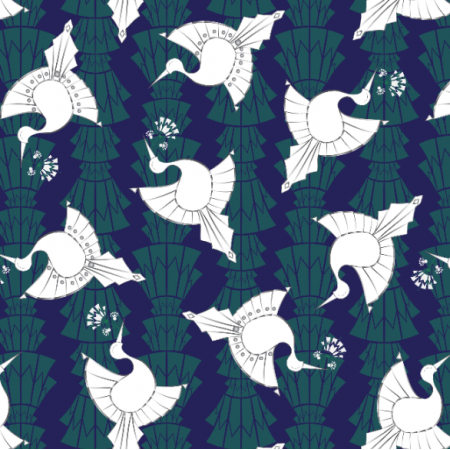 Fabric 10520 | art deco ptaki