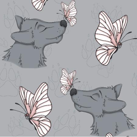 Fabric 10538 | WATAHA - wilk z motylem