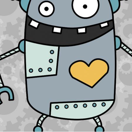 10627 | ROBOT Z SERCEM - PILLOW PANEL (35 CM)