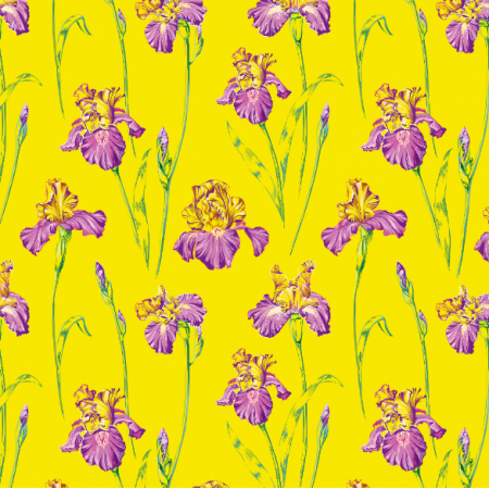 Tkanina 10652 | Irises yellow