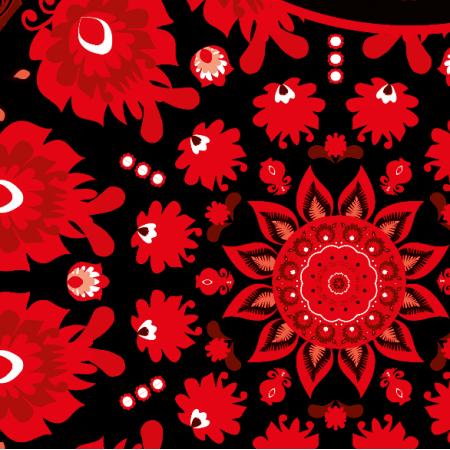 Fabric 10655 | Folk - mandala-czerwony