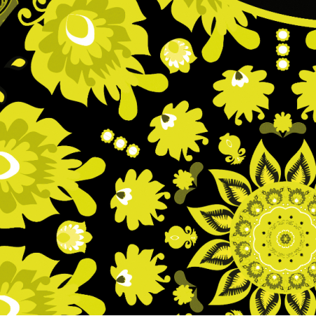 Fabric 10656 | Folk - mandala-Żółty
