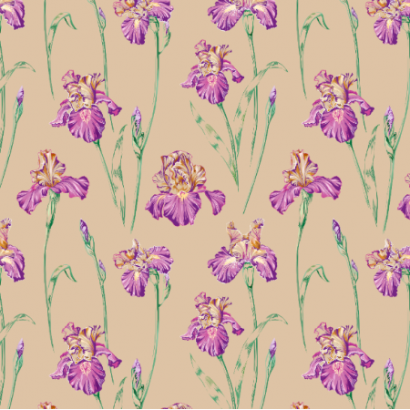 Fabric 10665 | Irises beige