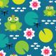 Fabric 10682 | frog nenuphar dragonfly