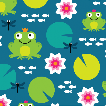 Fabric 10682 | frog nenuphar dragonfly