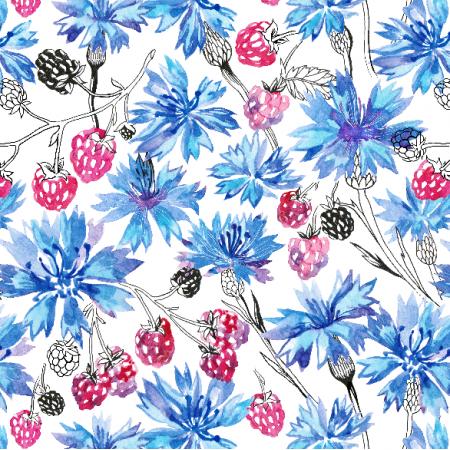 Tkanina 10687 | cornflowers and raspberry