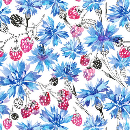 Fabric 10687 | cornflowers and raspberry