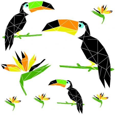 Fabric 10693 | tukany w tropikach