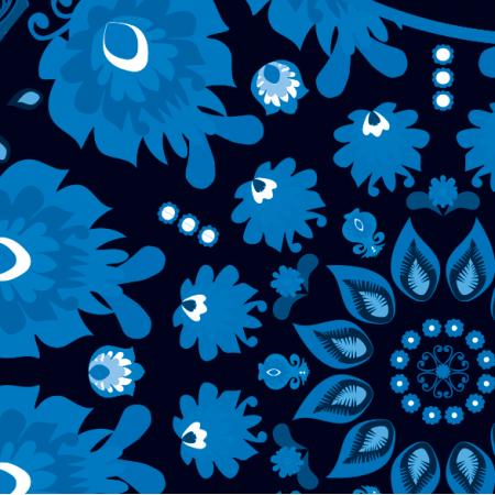 Tkanina 10734 | Folk - mandala-niebieski