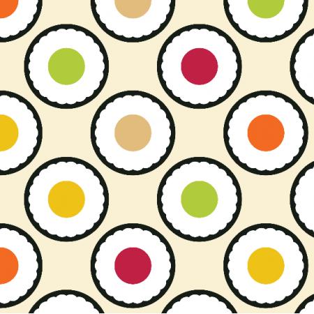 Tkanina 10779 | sushi maki polka dots