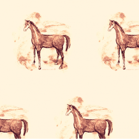 Fabric 10803 | Horse  pattern sepia colour 1
