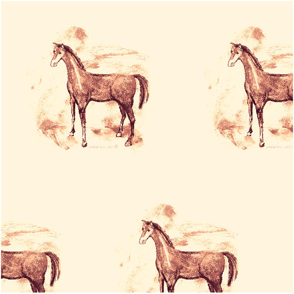 Tkanina 10803 | Horse  pattern sepia colour 1