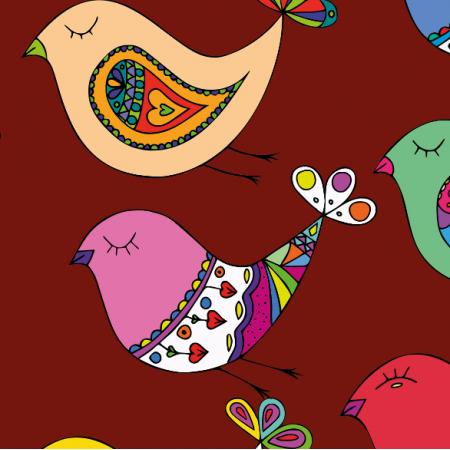 Fabric 10811 | Ptaki - maroon