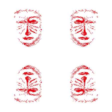 10830 | red mask -  white and red pattern 2