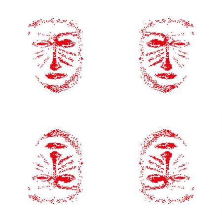 Tkanina 10830 | red mask -  white and red pattern 2
