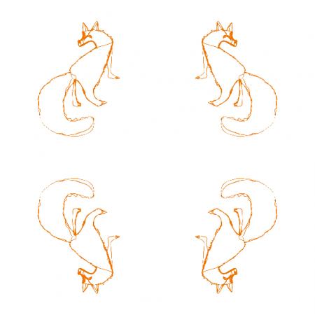 Fabric 10834 | Fox 2 white nad orange pattern