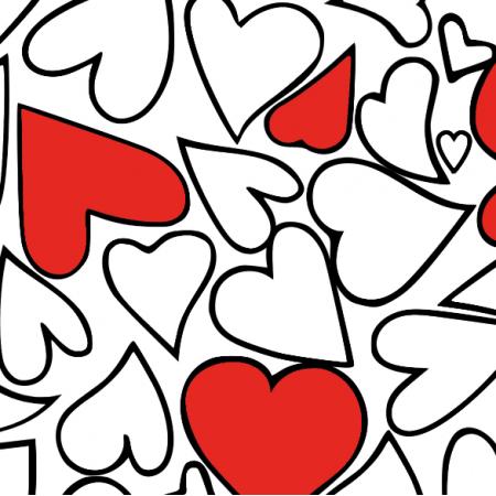 Fabric 10840 | serca biało czerwone