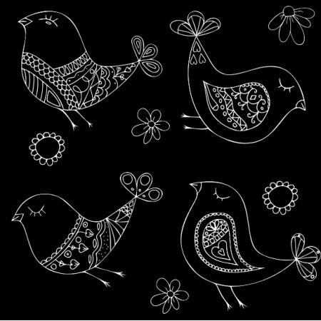 Fabric 10914 | ptaki black