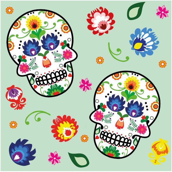 Fabric 10926   folk - skull