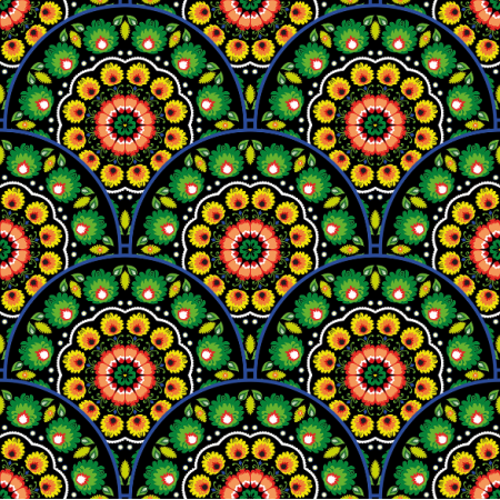 Fabric 10939 | folk mandalas